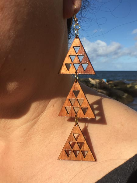 Mauna Tri-Dangle Koa Earrings - Hawaii Bookmark
