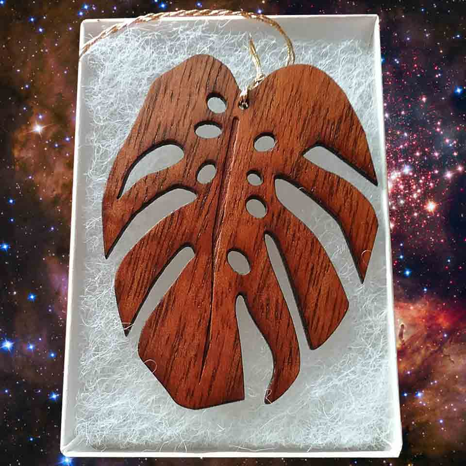 Monstera Leaf Koa Ornament - Hawaii Bookmark