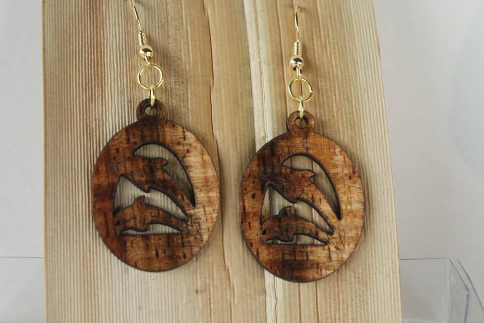 Nai'a Koa Earrings - Hawaii Bookmark