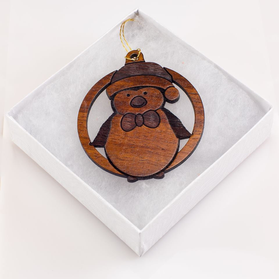 Festive Winter Penguin Holiday Koa Ornament - Hawaii Bookmark