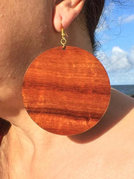 'Ulu Maika Koa Earrings - Hawaii Bookmark