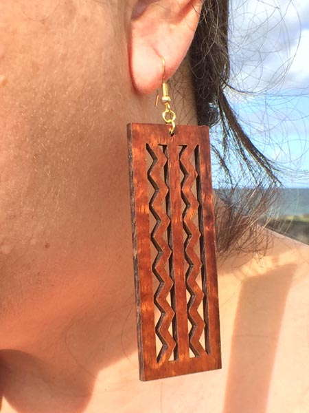 Wailuku Koa Earrings - Hawaii Bookmark
