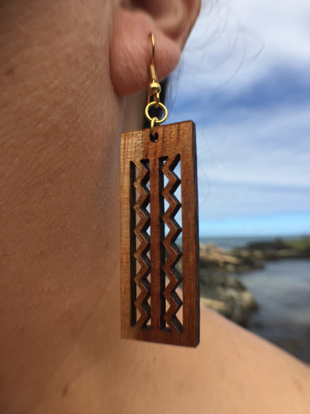 Wailuku Li'i Koa Earrings - Hawaii Bookmark