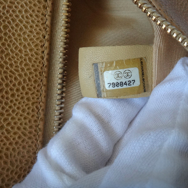 Chanel Caviar Quilted Shoulder Bag Beige date code