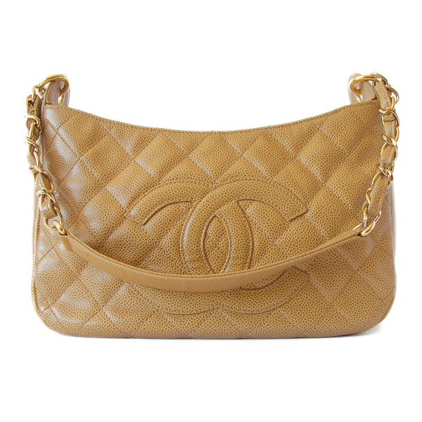 Chanel Caviar Quilted Shoulder Bag Beige front
