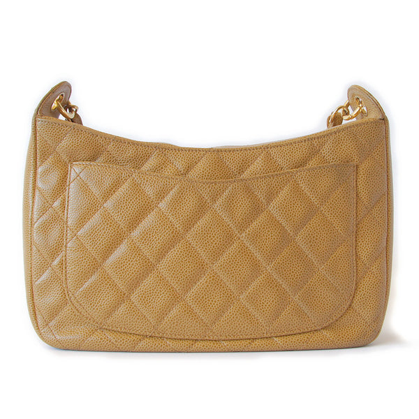 Chanel Caviar Quilted Shoulder Bag Beige back