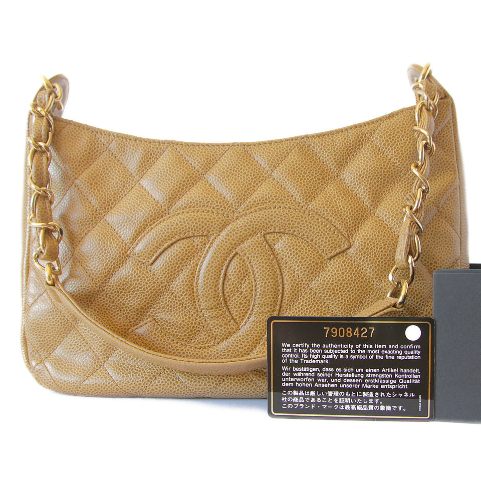 Chanel Caviar Quilted Shoulder Bag Beige with cert card