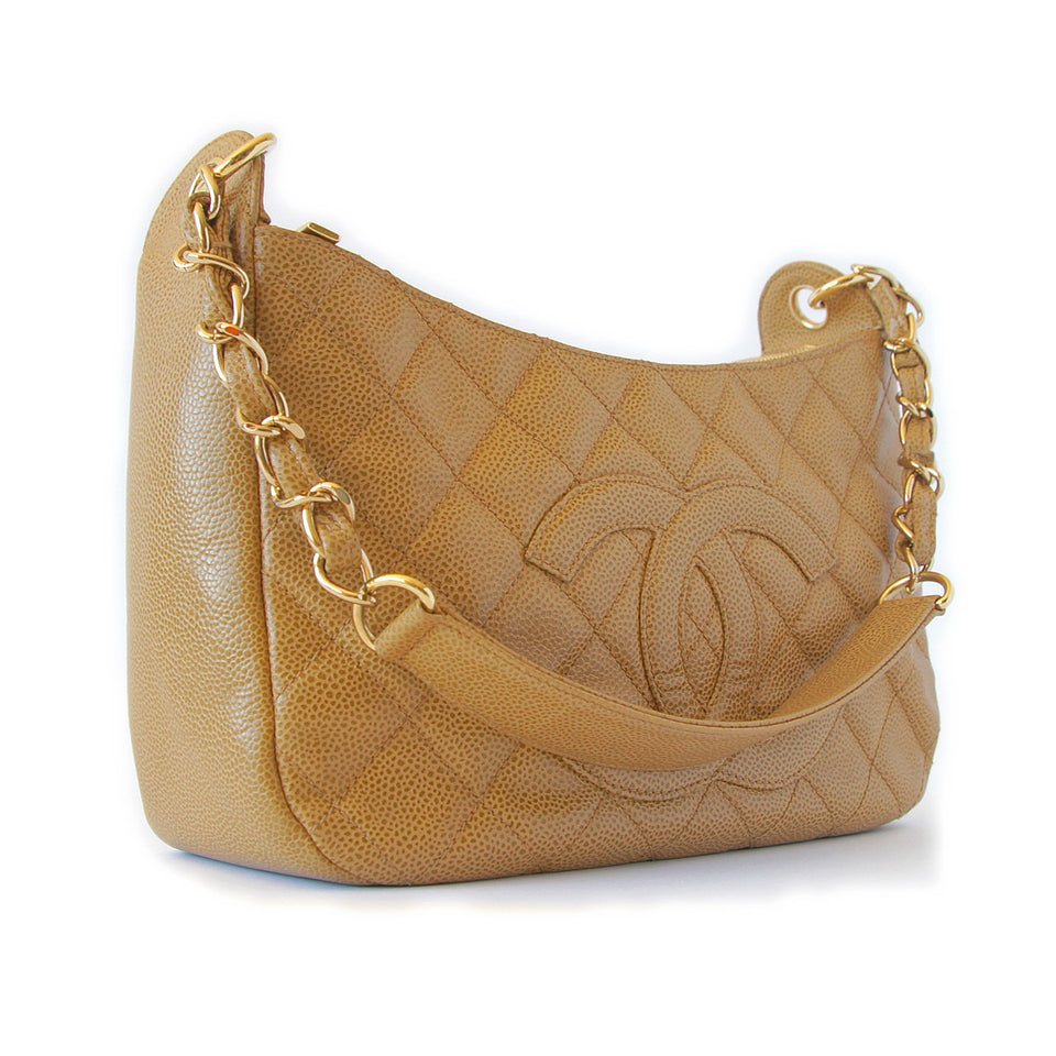 Chanel Caviar Quilted Shoulder Bag Beige diagonal front