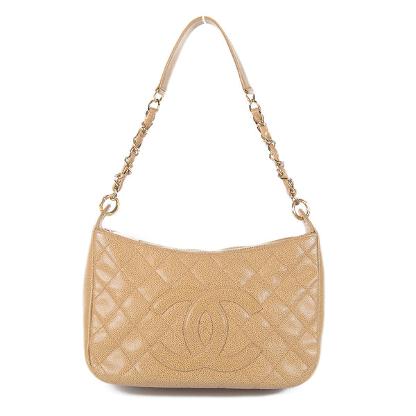Chanel Caviar Quilted Shoulder Bag Beige front strap up