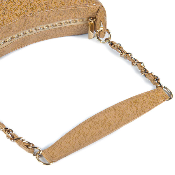 Chanel Caviar Quilted Shoulder Bag Beige strap