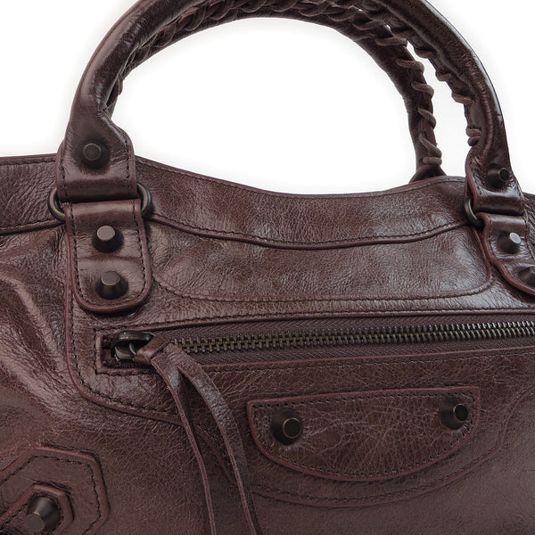 Balenciaga Agneau Classic First Chocolate front close
