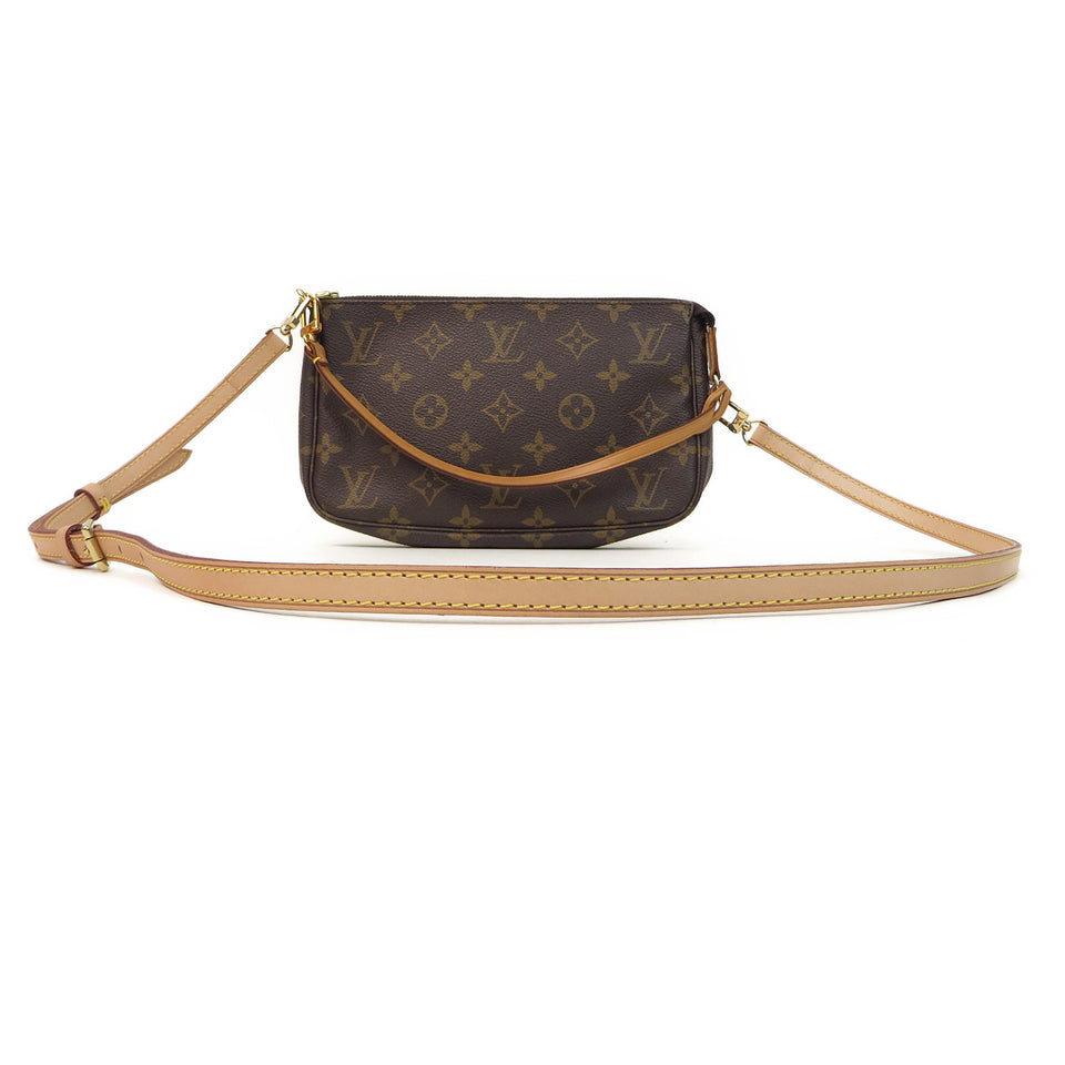 Louis Vuitton Plain Leather Shoulder Strap SAMPLE IMAGE WITH STRAP AND LV MONOGRAM POCHETTE ACCESSORIES