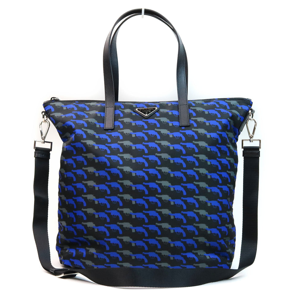 Prada Pistol Pattern Tessuto Nylon Shoulder Bag Front