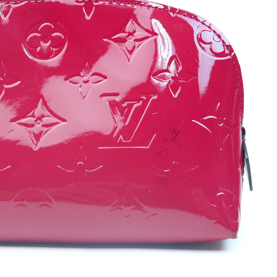 Louis Vuitton Vernis Cosmetic Pouch Magenta ZOOM VERNIS MONOGRAM CANVAS W SMALL BLACK MARKS