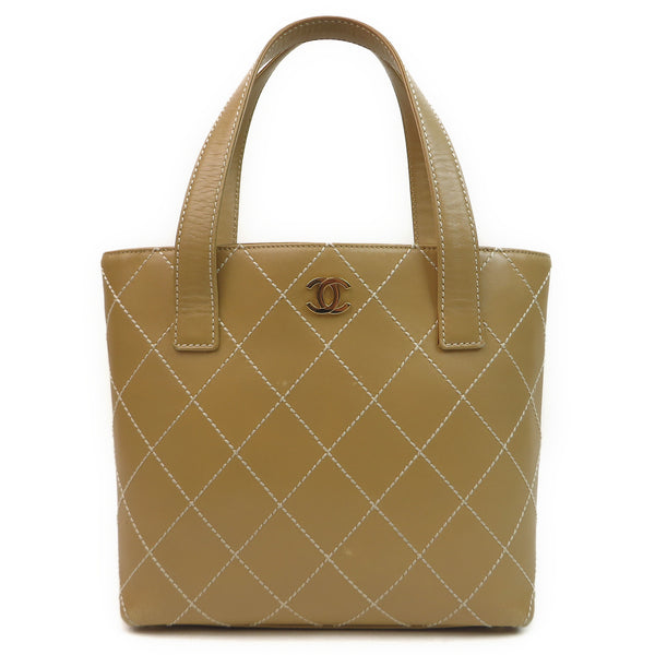 Chanel Leather Contrast Stitch Small Surpique Tote Front