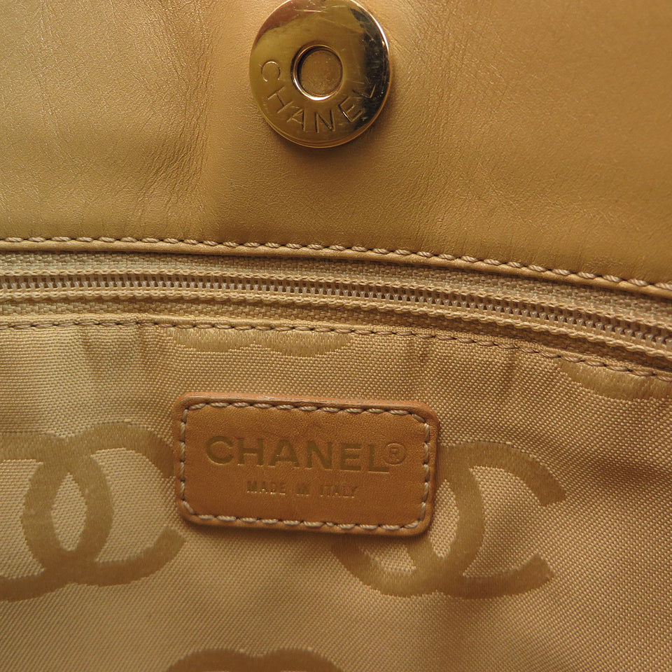 Chanel Leather Contrast Stitch Small Surpique Tote Tag