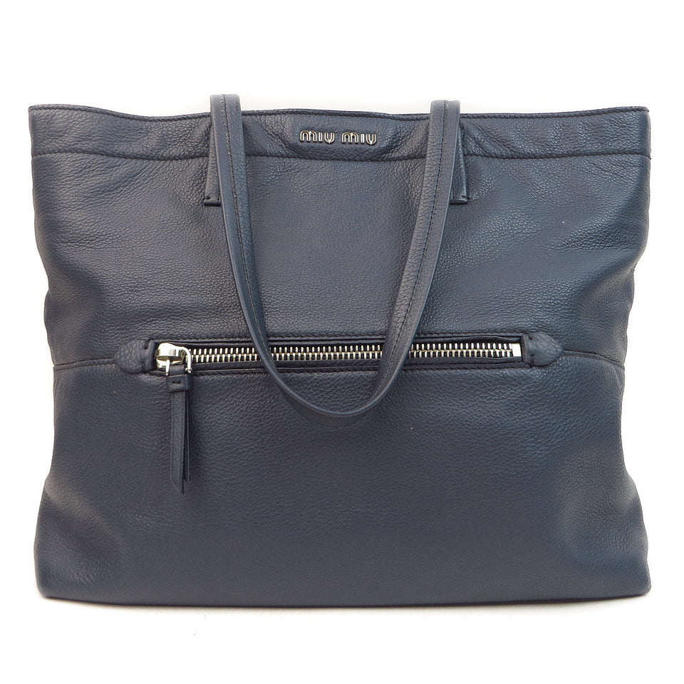 Miu Miu Leather Tote Navy FRONT