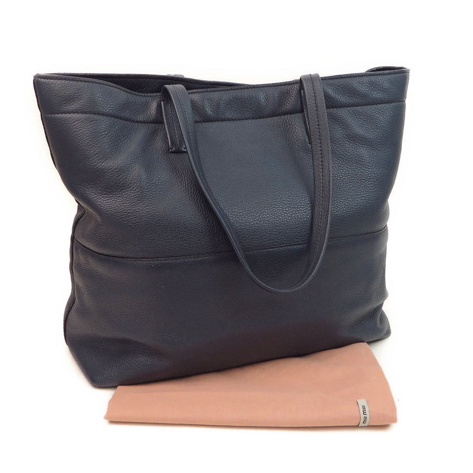 Miu Miu Leather Tote Navy DUST BAG