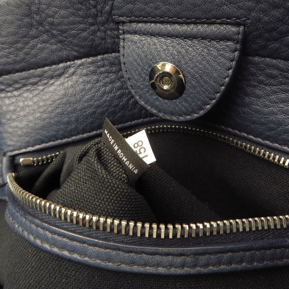 Miu Miu Leather Tote Navy SERIAL NUMBER AND MADE IN ROMANIA