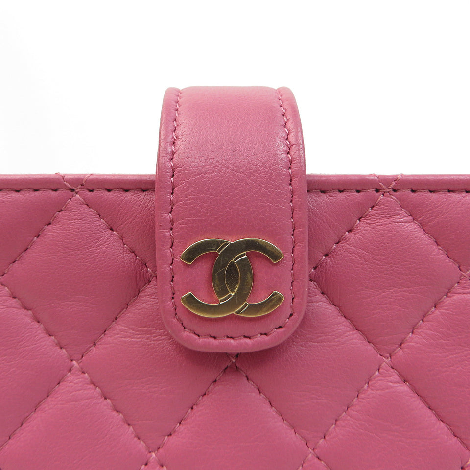 Chanel Lambskin Coin Case & Card Case Framboise CC Zoom