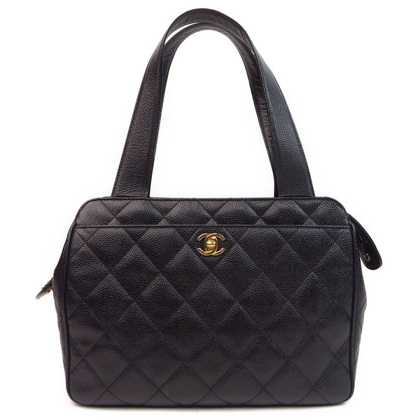 Chanel Caviar Leather Tote Bag Black Front