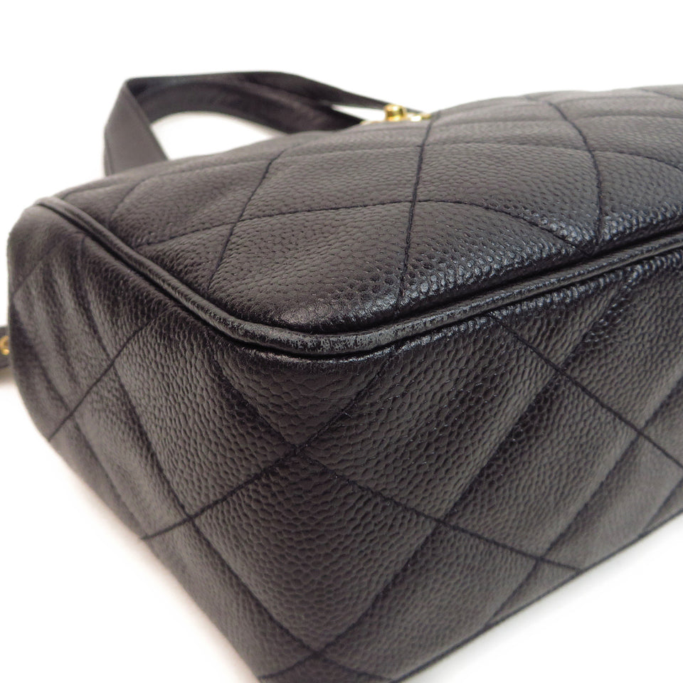 Chanel Caviar Leather Tote Bag Black Bottom Corner Close Up