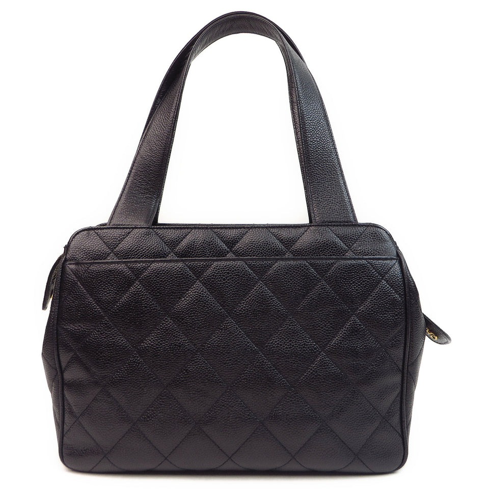 Chanel Caviar Leather Tote Bag Black Back