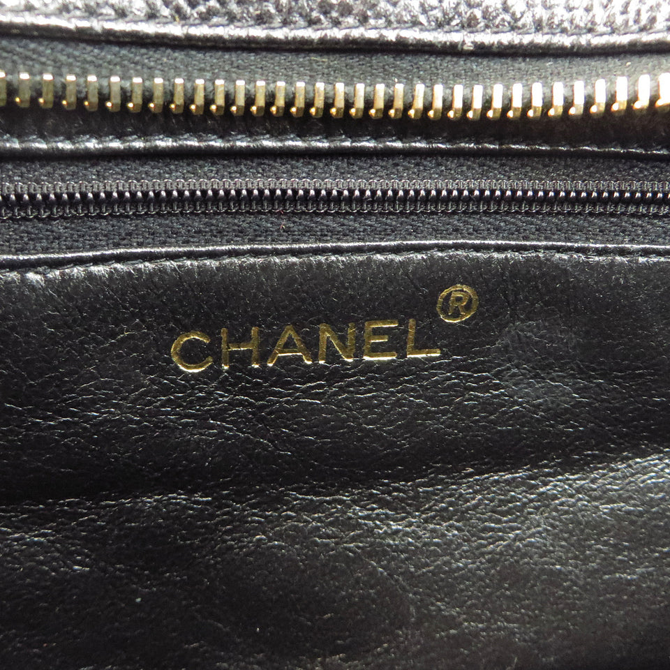 Chanel Caviar Leather Tote Bag Black Chanel Stramp