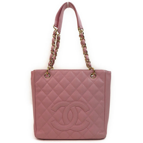 Chanel Caviar Leather Tote Bag Pink Front