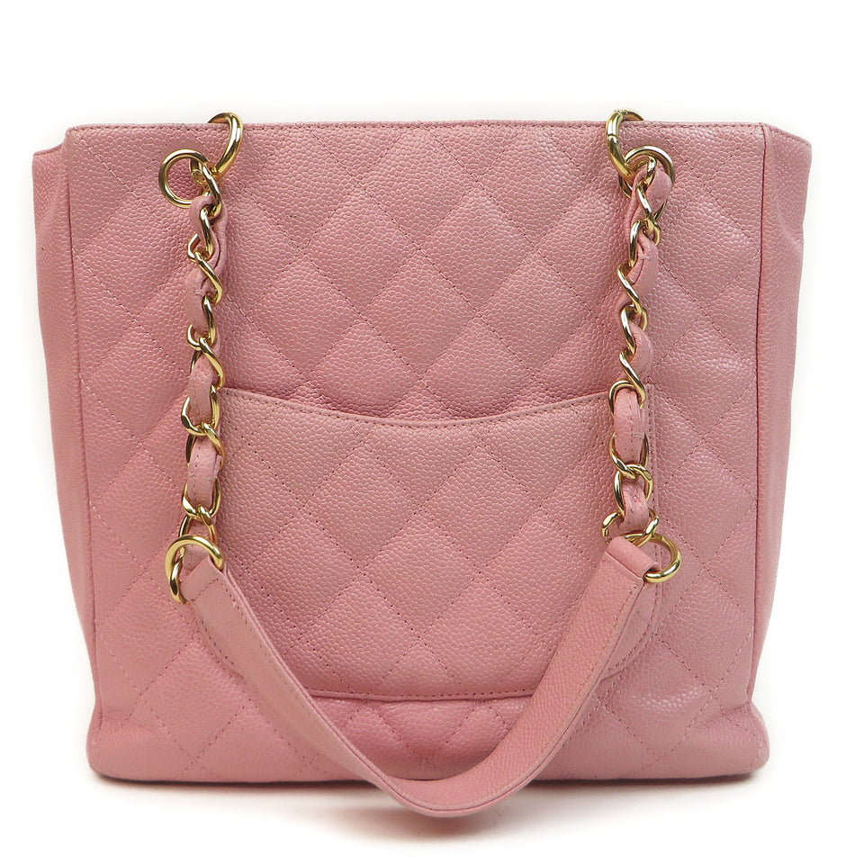 Chanel Caviar Leather Tote Bag Pink BACK