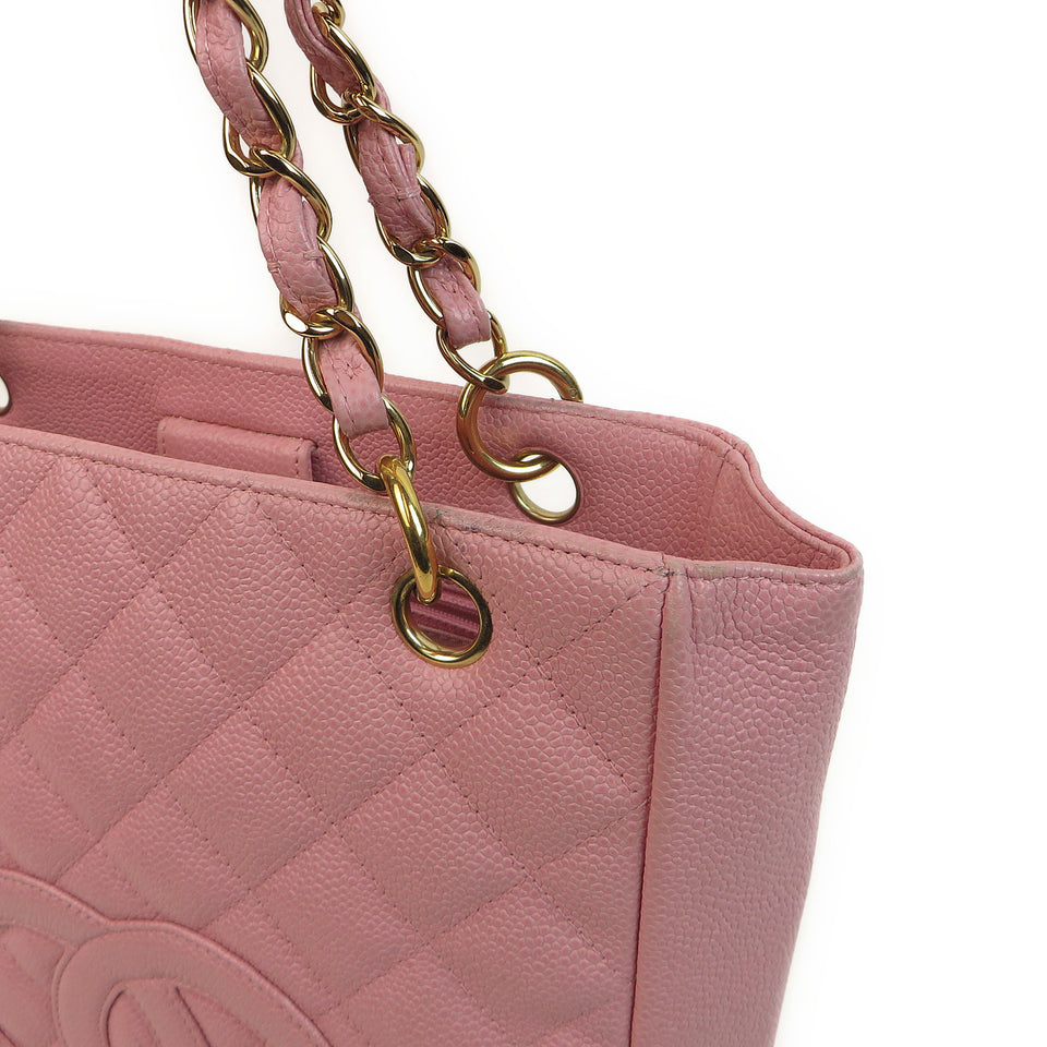 Chanel Caviar Leather Tote Bag Pink TOP EDGE ZOOM