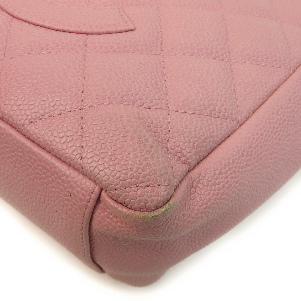 Chanel Caviar Leather Tote Bag Pink CORNER EDGE ZOOM