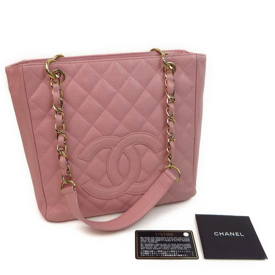 Chanel Caviar Leather Tote Bag Pink AUTHENTICITY CARD