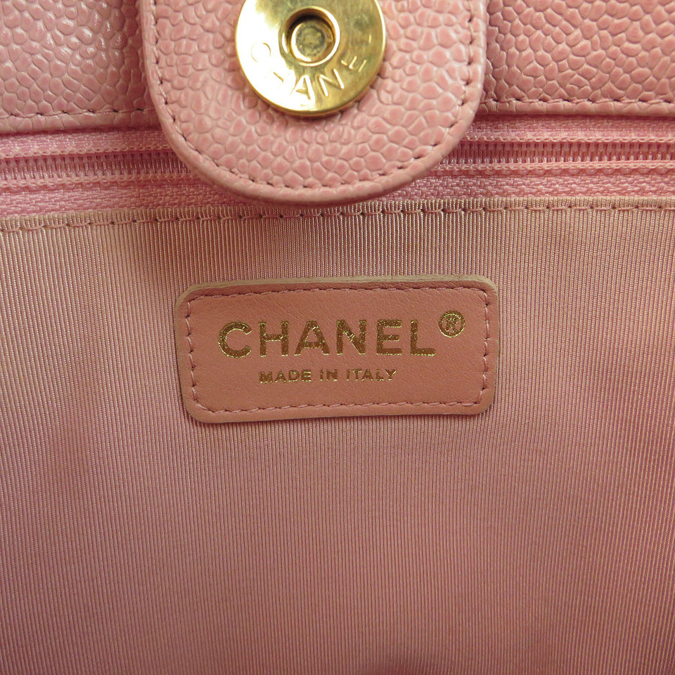 Chanel Caviar Leather Tote Bag Pink CHANEL STAMP