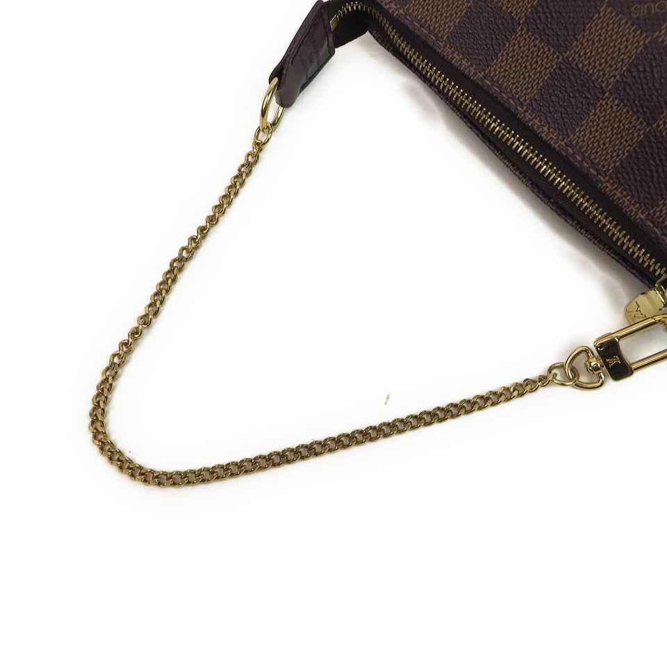 Louis Vuitton Damier Ebene Mini Pochette Accessories Chain Strap