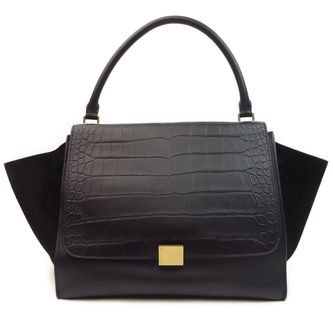 Celine Embossed Leather Large Trapeze Black Front