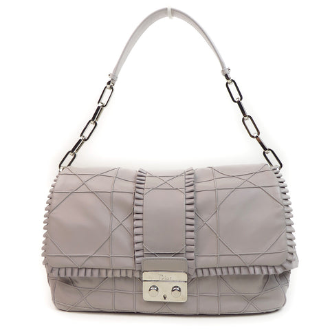 Shop Christian Dior Lambskin Cannage Flap Shoulder Bag Gray at Luxury Mart AU Sydney Australia. front