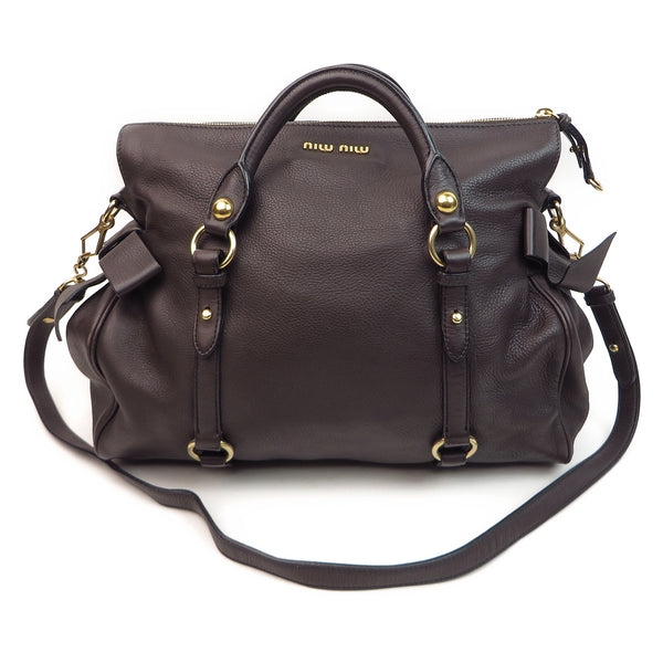 Shop Miu Miu Vitello Lux Satchel Chocolate at Luxury Mart AU Sydney Australia. Front
