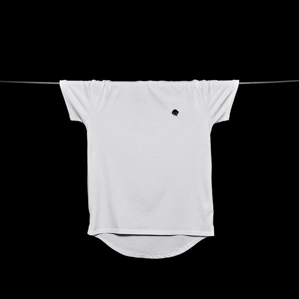 Mens Longline Embroidered Casual Tee (White)