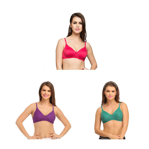 Set of 3 Cotton Rich Non Padded Wirefree T-Shirt Bra In Green, , Bra Clovia Thailand