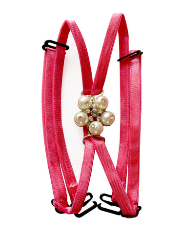 Detachable Double String Straps In Pink With Pearl Floral Pendant