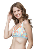 Clovia Printed Lacy Neck Non-Padded Wirefree Beginners Bra - Blue