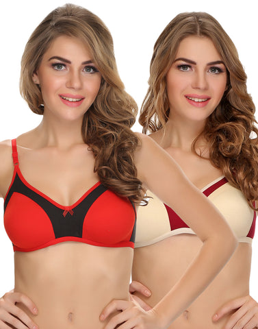 Clovia Pack Of 2 Cotton Non-Padded Wirefree T-Shirt Bra With Double Layers - Red & Skin, , Bra Clovia Thailand