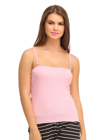 Cotton Camisole With Detachable Straps - Pink, , Cami Clovia Thailand