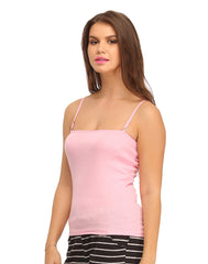 Cotton Camisole With Detachable Straps - Pink, L / Pink, Cami Clovia Thailand