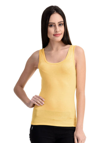 Cotton Camisole With Racer Back - Yellow, , Cami Clovia Thailand