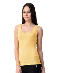 Cotton Camisole With Racer Back - Yellow, S / Yellow, Cami Clovia Thailand
