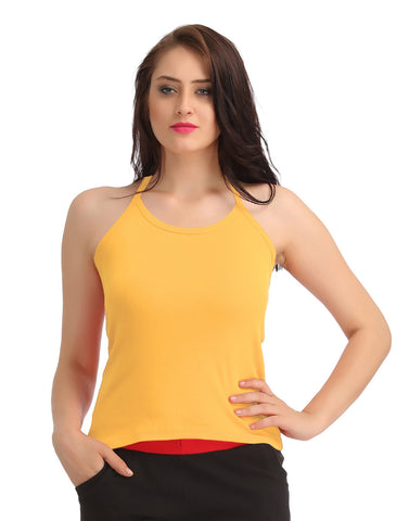Cotton Camisole With Halter Neck - Yellow, , Cami Clovia Thailand