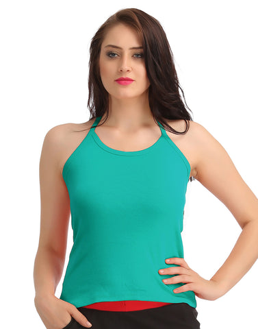 Cotton Camisole With Halter Neck - Blue, , Cami Clovia Thailand