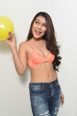 Push Up Demi Cup T-shirt Bra With Detachable Straps - Orange, , Bra Clovia Thailand